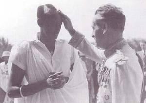 Baptême de Rudahigwa avec son parrain Pierre Ryckmans